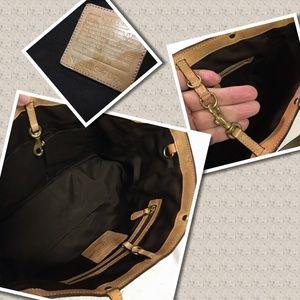 Coach Bags - SOLD! cOAO Khaki/Gold Python Trim Signature Tote